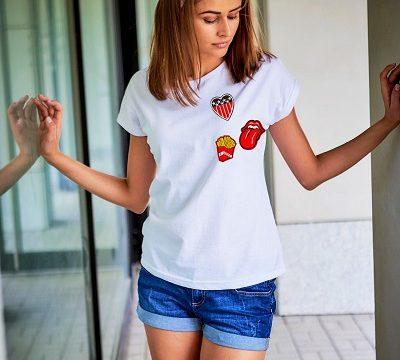 t-shirty z naszywkami