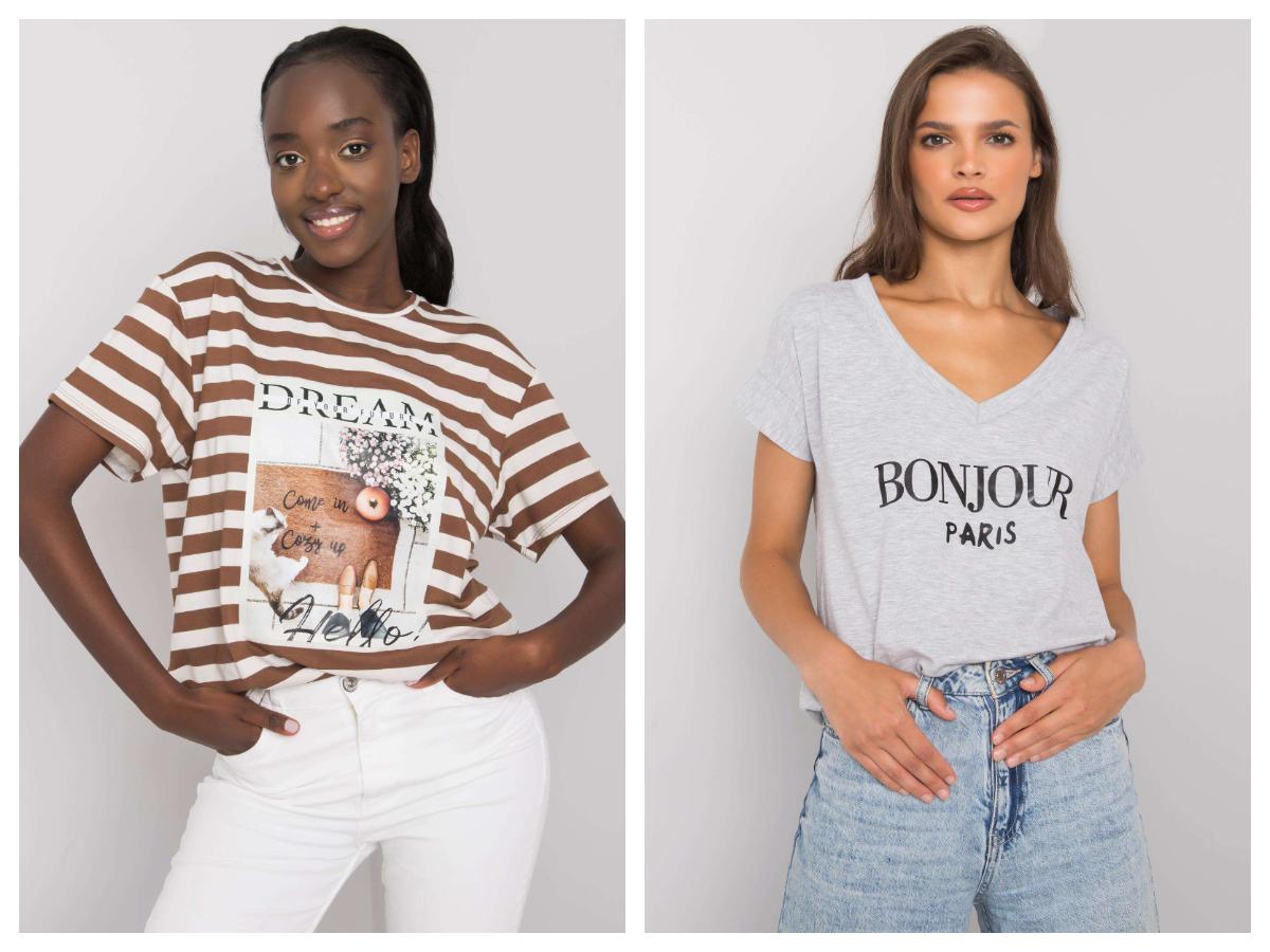 T-shirt damski w kolorze szarym z modnym nadrukiem BONJOUR PARIS