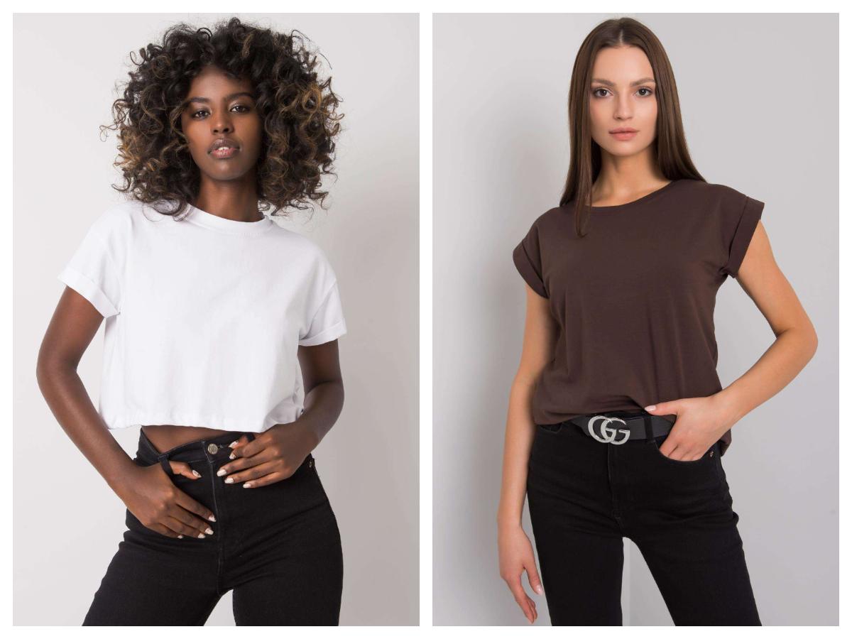 Jesienne kolory t-shirtów basic z krótkim rękawem