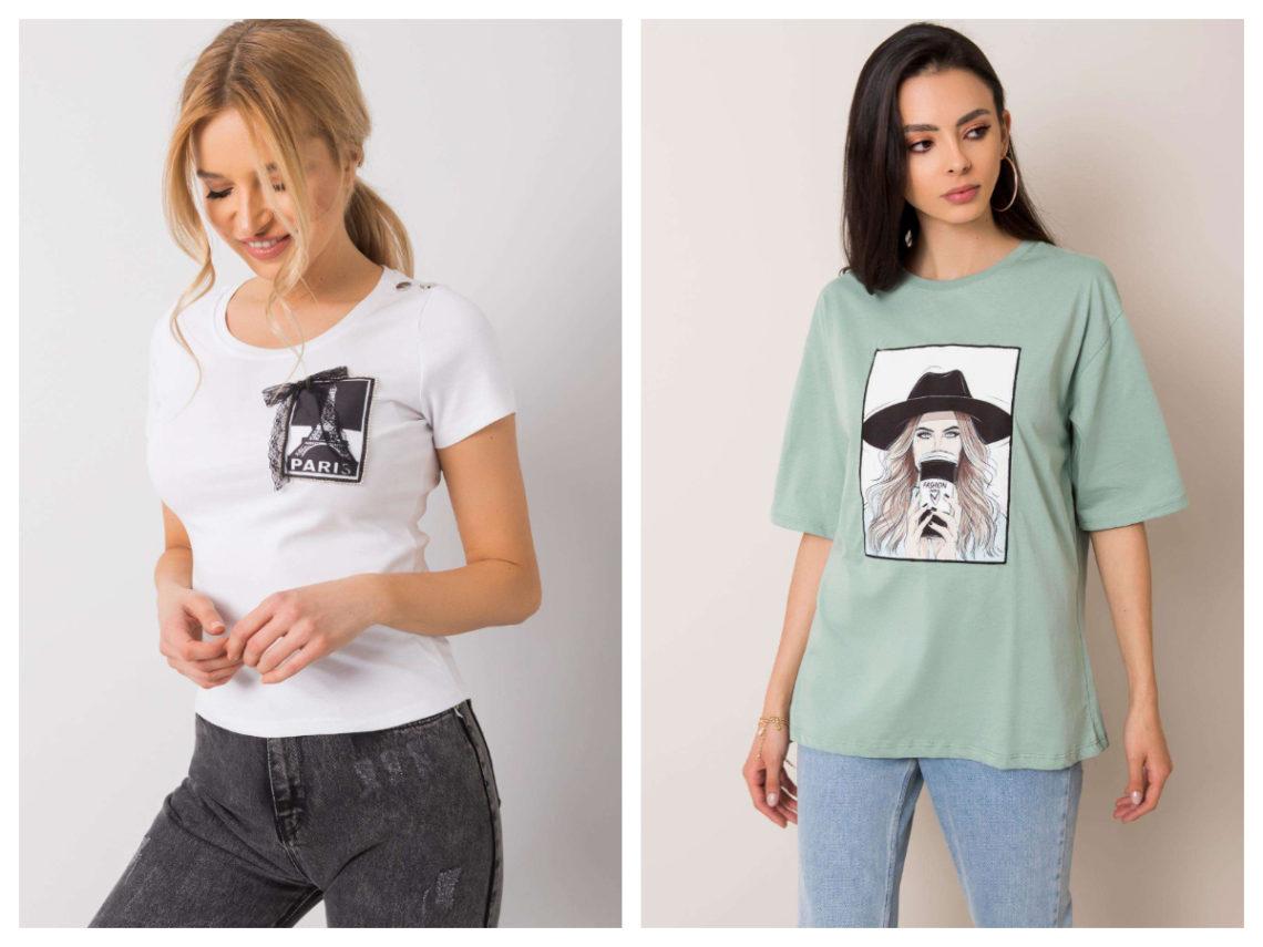 Najciekawsze t-shirty z nadrukiem na jesień miętowe
